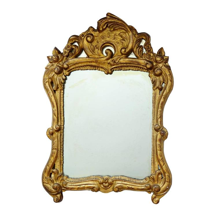 Italian Carved Wood and Gilded 17th Century Style Baroque Mirror, circa 1860