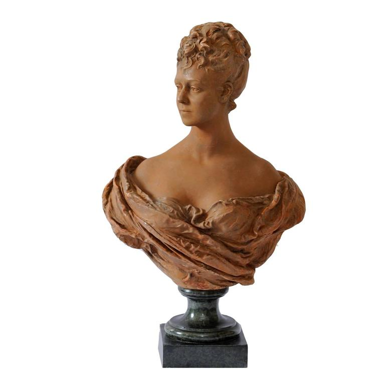 Fine French Terracotta Bust of a Young 18th Century Noble Woman, circa 1860 For Sale