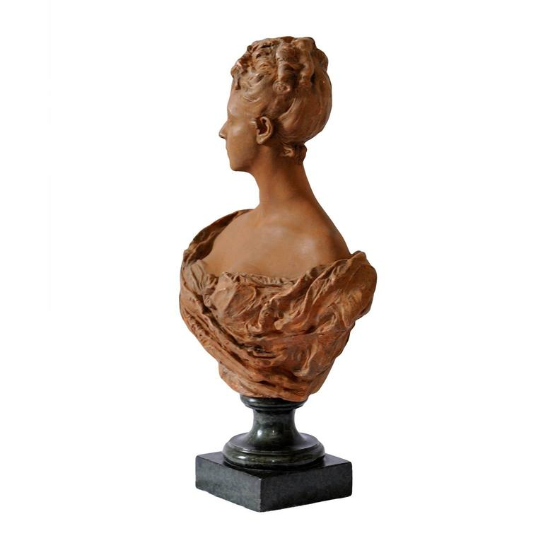 Polished Fine French Terracotta Bust of a Young 18th Century Noble Woman, circa 1860 For Sale