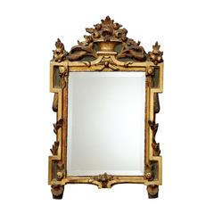 French Louis XVI Carved Giltwood and Painted Mirror, circa 1780