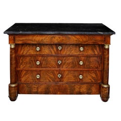 French Empire Flame Mahogany Five-Drawer Napoleonic Commode, circa 1820