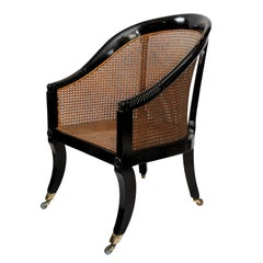 English Early 19th Century Regency Ebonized Library Chair, circa 1810