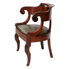 French Empire Napoleonic Period Mahogany Desk Chair, circa 1820