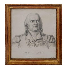 Framed Black and White Lithograph Engraving of Louis XVIII, circa 1830