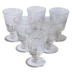 Set of Six Matching Large English Regency Cut Glass Wine Rummers, circa 1810