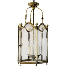 French Louis XV Style Mid-19th Century Brass Hanging Lantern, circa 1860