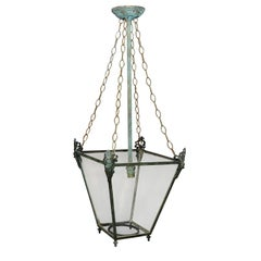 English Regency Verdigris Bronze Hanging Lantern, circa 1810