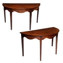 Pair of George III Mahogany Demilune Side Tables, circa 1780