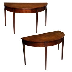 Pair of George III Mahogany Demilune Side Tables, circa 1760
