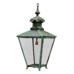 Large English Victorian Verdigris Copper Hanging Lantern, circa 1860