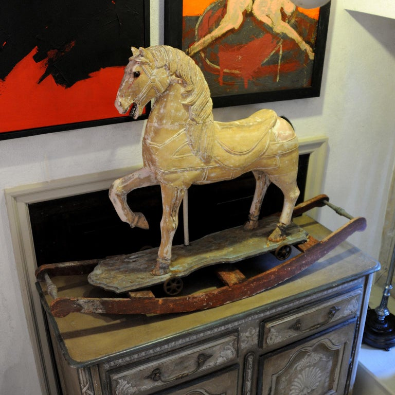 Wood French 19th Century Rocking or Trolley Horse, circa 1870 For Sale