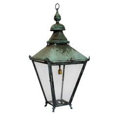 Large English Verdigris Copper Hanging Lantern, circa 1860