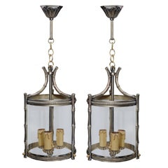Pair of Small French Brass Faux Bamboo Hanging Lanterns, circa 1890