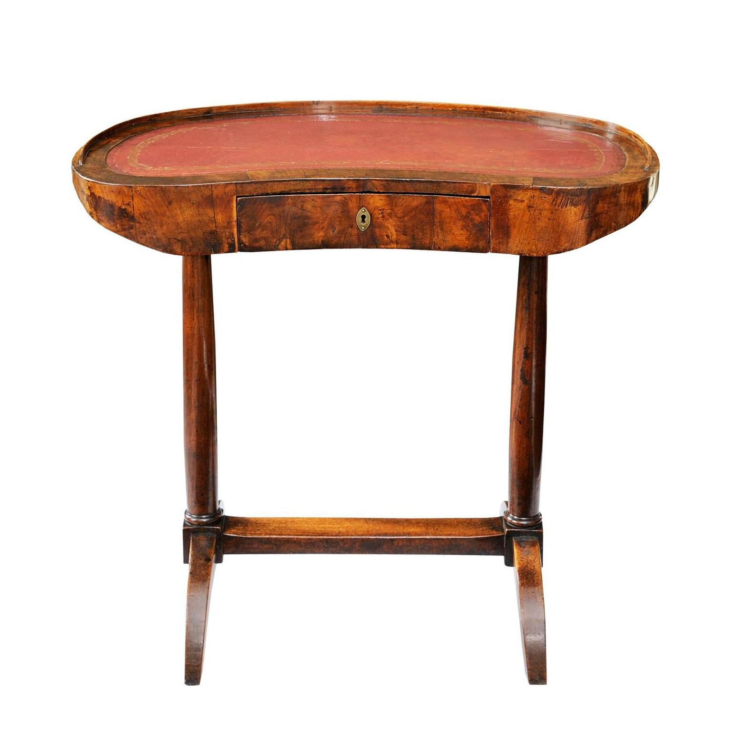 French walnut kidney shaped writing desk circa 1820 for for Kidney desk for sale