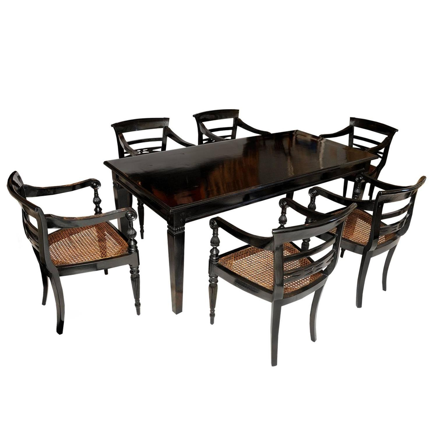 Anglo Indian 19th Century Dining Table and Six Chairs  : 142z from www.1stdibs.com size 1500 x 1500 jpeg 120kB