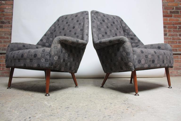 English Pair of Ernest Race Lounge Chairs and Ottoman in Eames Upholstery For Sale
