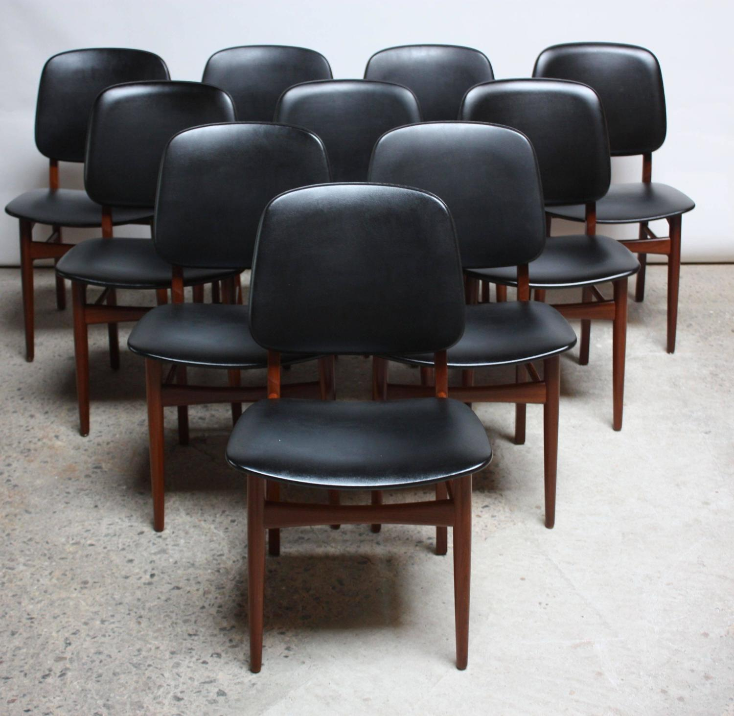 set of ten danish modern dining chairs in teak at 1stdibs