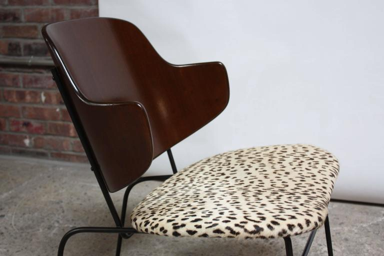 Rare IB Kofod Larsen Penguin Chairs and Ottoman in Leopard Print Appaloosa Hair 7