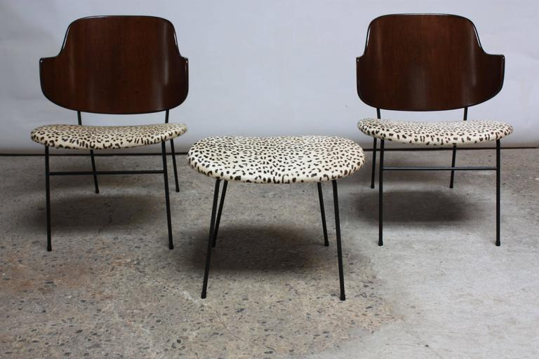 Rare IB Kofod Larsen Penguin Chairs and Ottoman in Leopard Print Appaloosa Hair 3