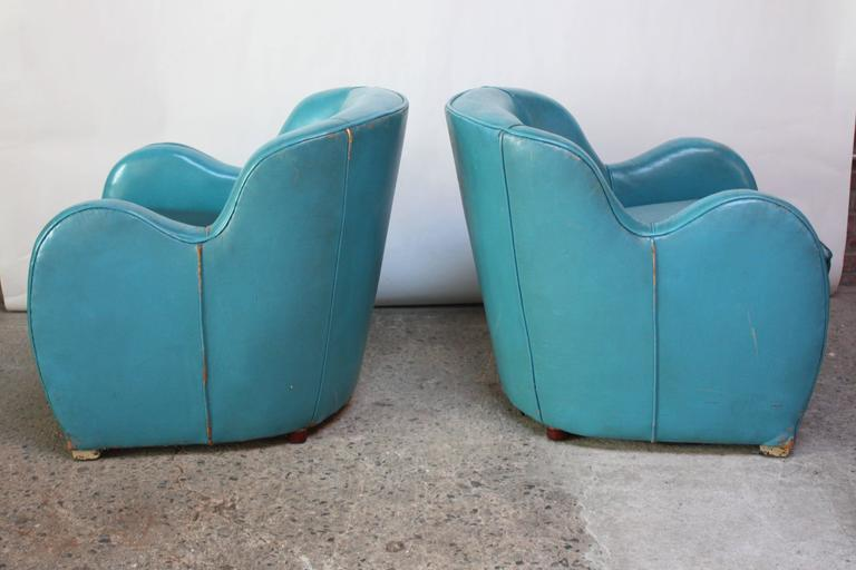 Scandinavian Deco Club Chairs in Blue Leather and Velvet 2