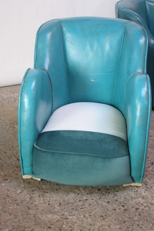 Scandinavian Deco Club Chairs in Blue Leather and Velvet 8