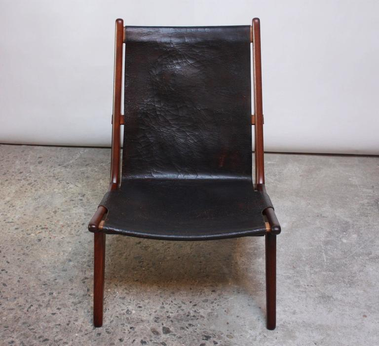 Swedish Teak and Leather Hunting Chair Model #204 by Uno and Östen Kristiansson 4