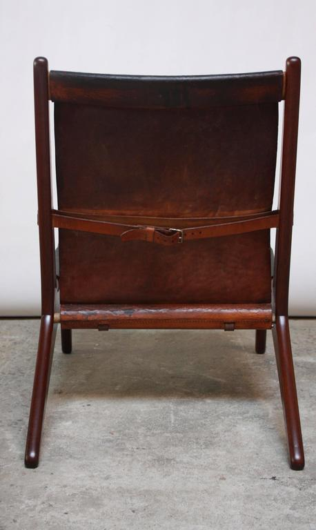 Swedish Teak and Leather Hunting Chair Model #204 by Uno and Östen Kristiansson 9