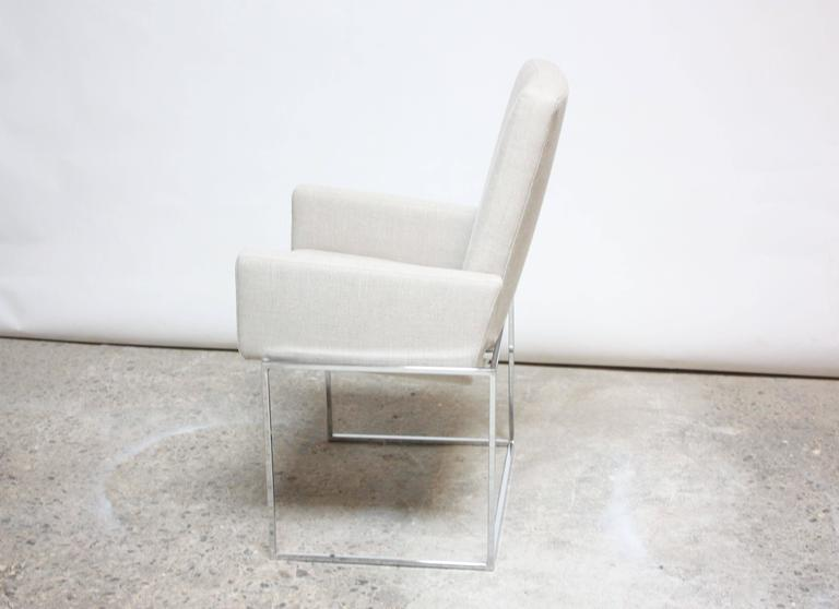 Late 20th Century Set of Six Milo Baughman 'Thin Line' Chrome Dining Chairs For Sale
