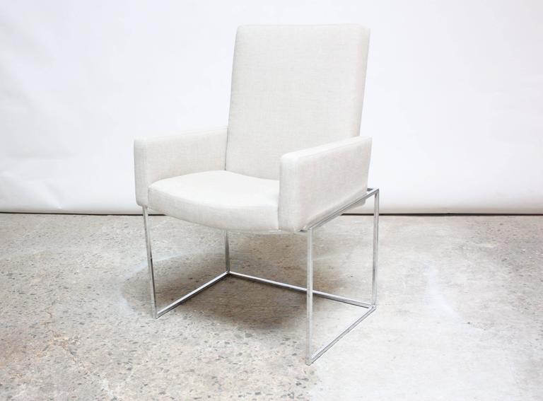 Mid-Century Modern Set of Six Milo Baughman 'Thin Line' Chrome Dining Chairs For Sale