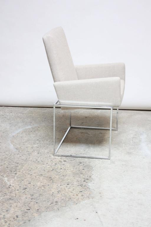 American Set of Six Milo Baughman 'Thin Line' Chrome Dining Chairs For Sale