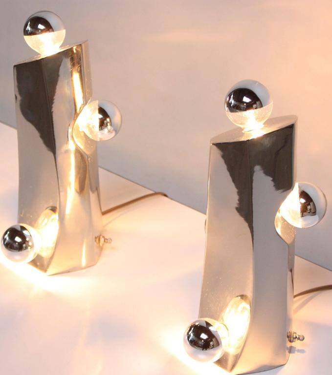 Mid-Century Modern Polished Chrome Free-Form Table Lamps 7