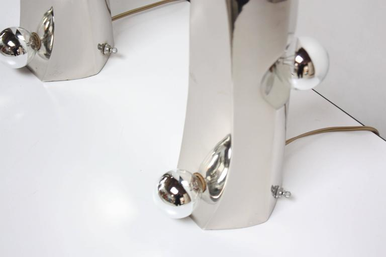 Mid-Century Modern Polished Chrome Free-Form Table Lamps 3