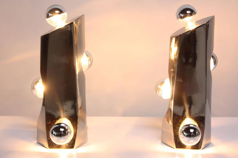 Mid-Century Modern Polished Chrome Free-Form Table Lamps 9
