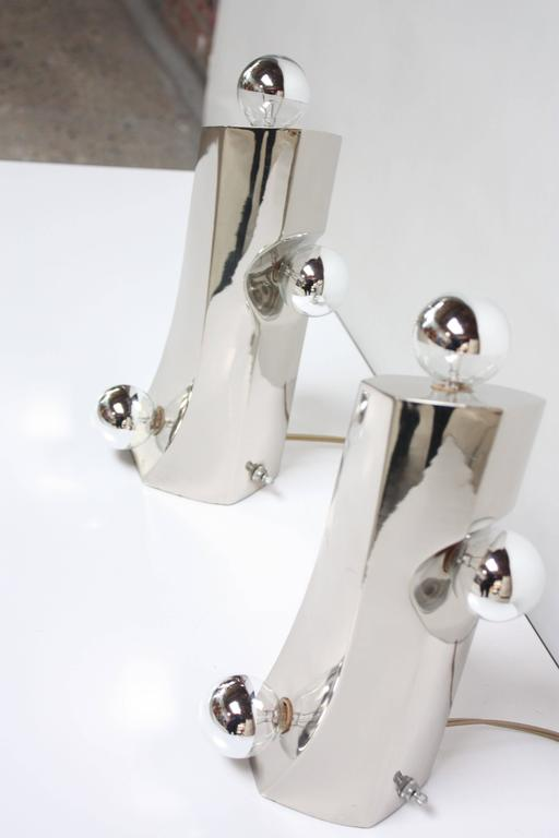 Mid-Century Modern Polished Chrome Free-Form Table Lamps 2