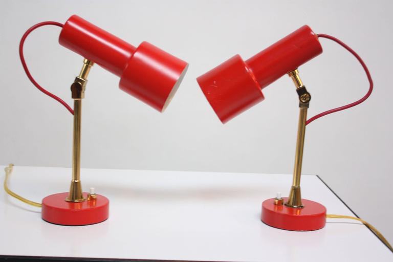 Painted Pair of Mid-Century Italian Modern Petite Table Lamps / Sconces by Stilux For Sale