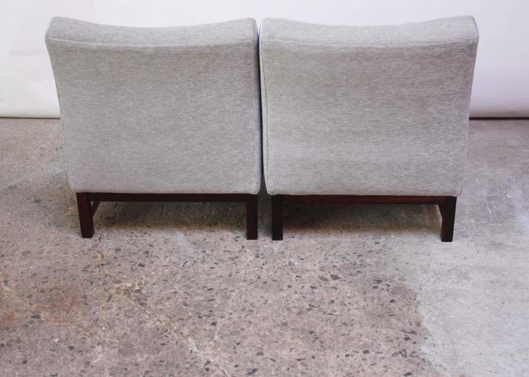 Pair of Norwegian LK Hjelle Slipper Chairs in Chenille and Rosewood 4