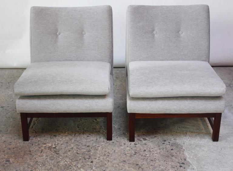 Pair of Norwegian LK Hjelle Slipper Chairs in Chenille and Rosewood 2