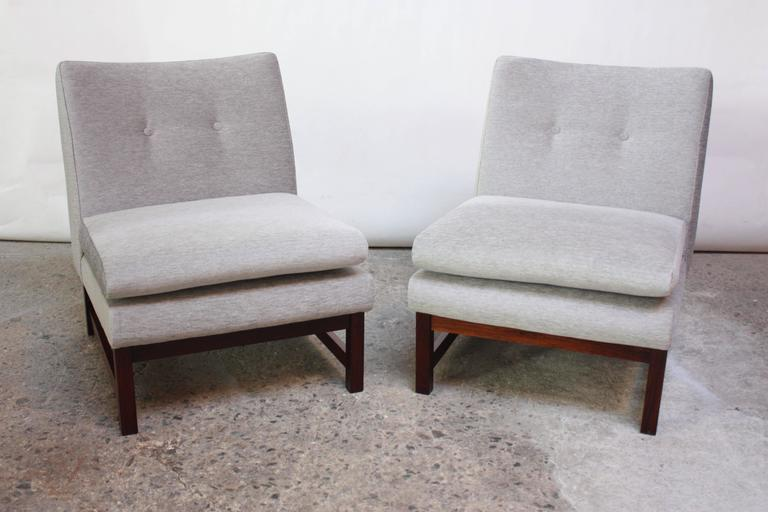 Pair of Norwegian LK Hjelle Slipper Chairs in Chenille and Rosewood 3