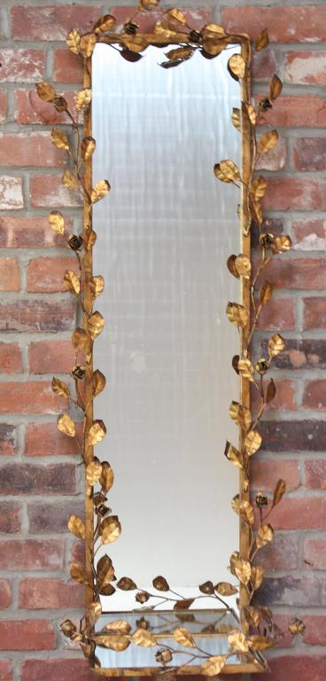 Italian Gilt Tole Floral Motif Mirror with Shelf 2
