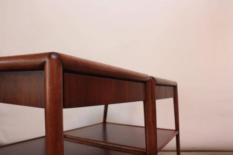 Walnut Pair of T. H. Robsjohn-Gibbings Single Drawer End Tables For Sale