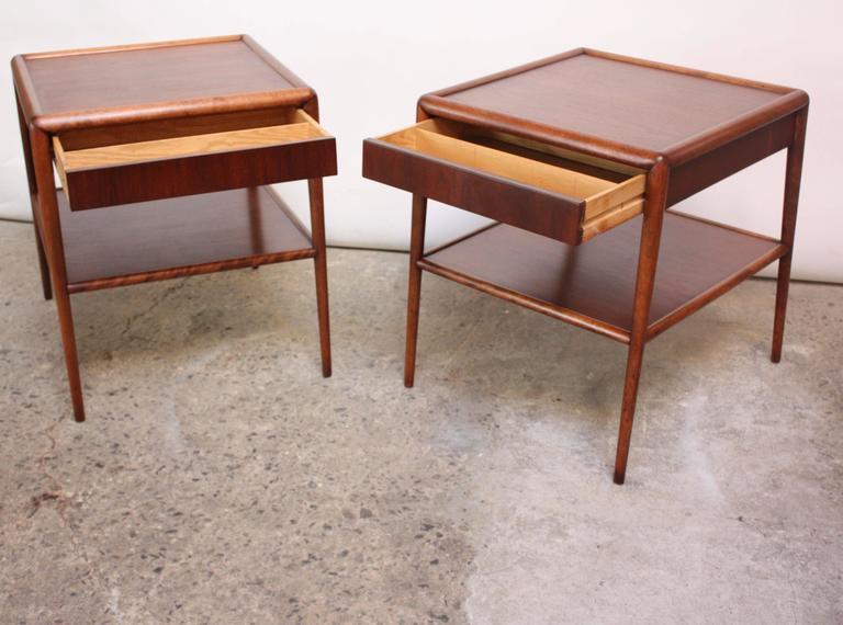 American Pair of T. H. Robsjohn-Gibbings Single Drawer End Tables For Sale