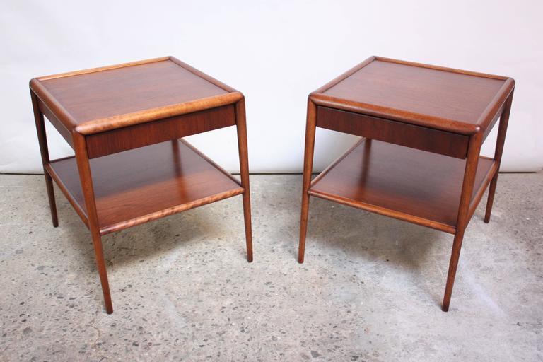 Mid-Century Modern Pair of T. H. Robsjohn-Gibbings Single Drawer End Tables For Sale