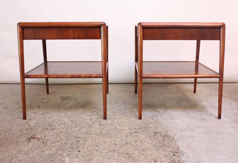Pair of T. H. Robsjohn-Gibbings Single Drawer End Tables 2