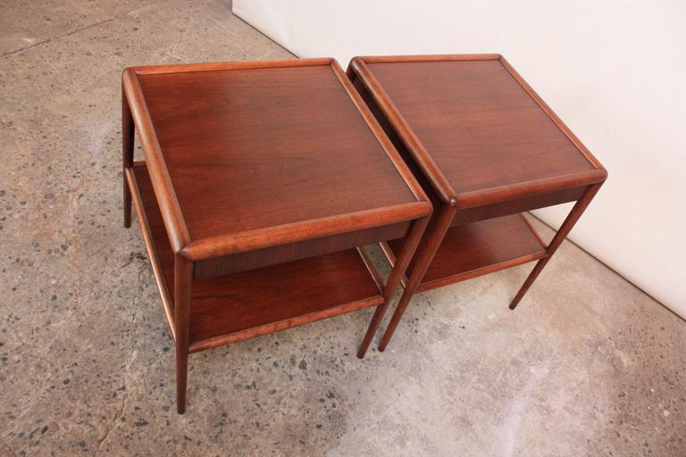 Pair of T. H. Robsjohn-Gibbings Single Drawer End Tables In Excellent Condition For Sale In Brooklyn, NY