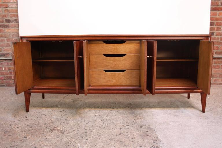 American John Stuart Bookmatched Walnut Credenza For Sale