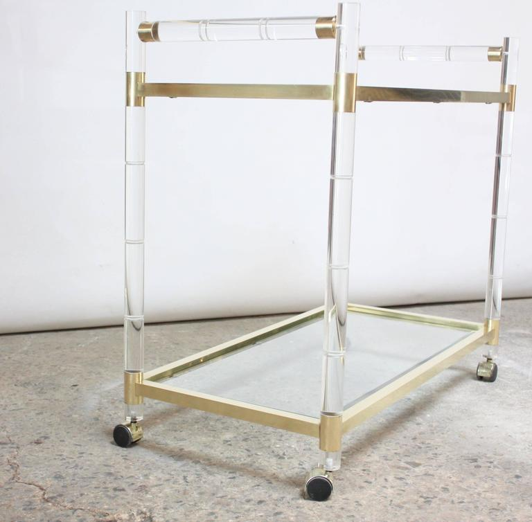 American Charles Hollis Jones Lucite Faux-Bamboo and Brass Serving Cart For Sale