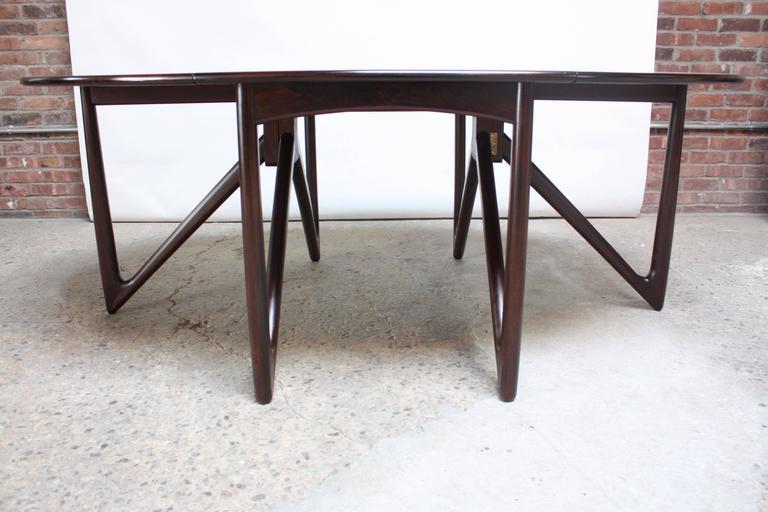 Niels Koefoed Elliptical Rosewood Gateleg 'Eva' Dining Table Model #304 3