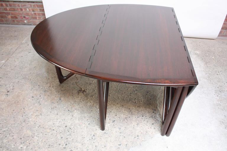 Niels Koefoed Elliptical Rosewood Gateleg 'Eva' Dining Table Model #304 5