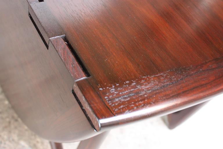 Niels Koefoed Elliptical Rosewood Gateleg 'Eva' Dining Table Model #304 10