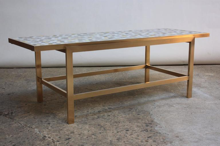 Brass and Mosaic Coffee Table Attributed to Ed Wormley for Dunbar 3